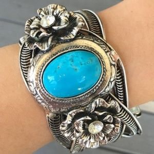 Turquoise with Roses Bangle